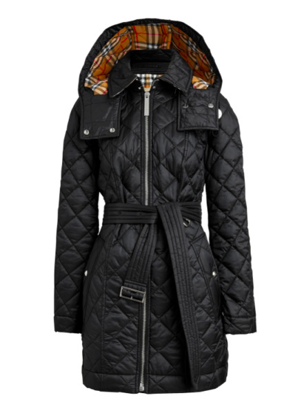 New Burberry Women Baughton 18 Hooded Belted Quilted Jacket Black Size XS NWT $799.99