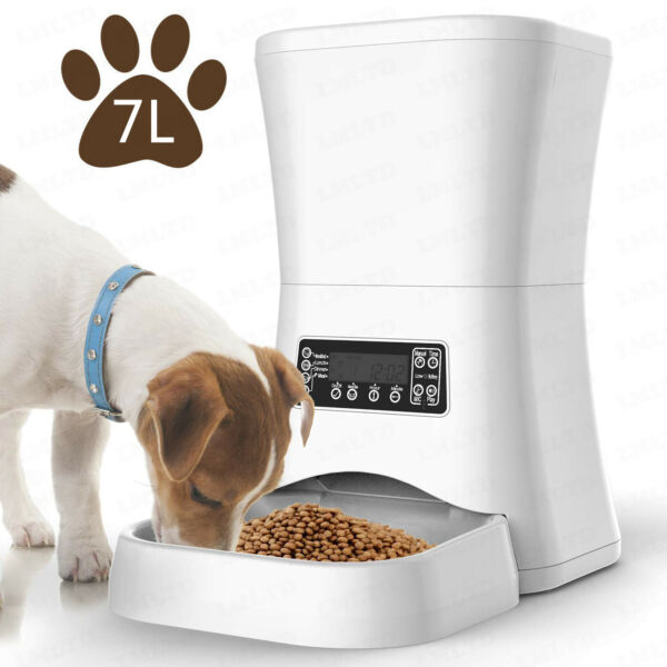 7L LCD Display Programmable Portion Contro Automatic Cat Dog Pet Food Feeder
