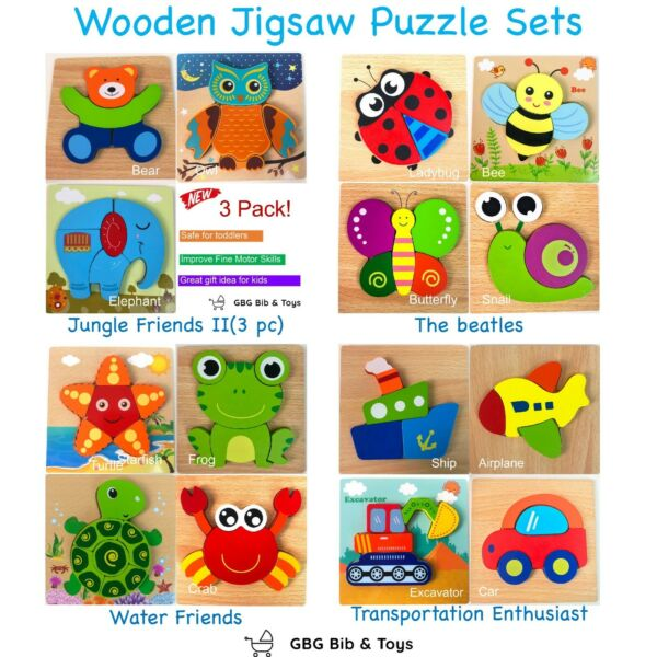 GBG Bib & Toys Wooden Jigsaw Puzzles for Toddlers early educational toys