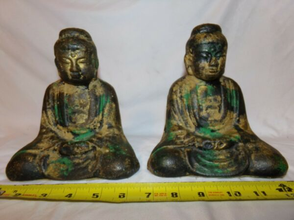 Antique Cast Iron Buddha Figurine Bookend or Doorstop Lot of 2
