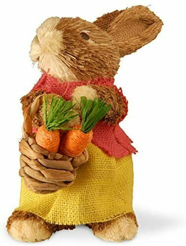 National Tree 9 Inch Brown Standing Rabbit with Burlap Skirt Christmas Item