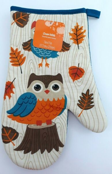 Owl Critters Kitchen Oven Mitts Autumn Fall Oak Leaves Holiday Cotton