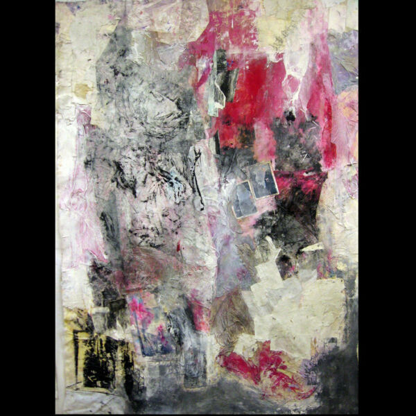 XL Collage Painting in itself modern art unstretched Canvas 87 x 64