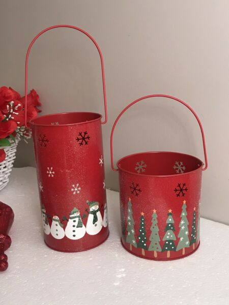 TWO Art Decor Christmas Pails Buckets wHandles Snowflakes Ornate 8.5""