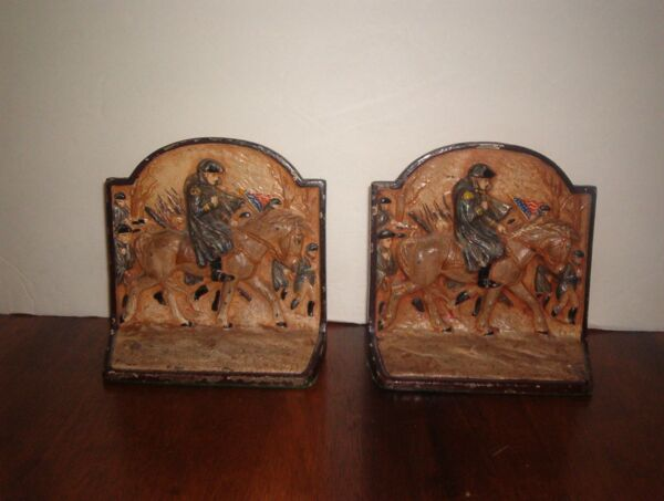 ANTIQUE **GEORGE WASHINGTON** HUBLEY CAST IRON **PAIR BOOK ENDS****