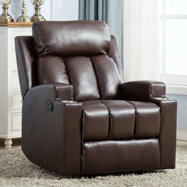 Manual Recliner Chair PU Leather Theater Recliner With 2 Cup Holders Chocolate