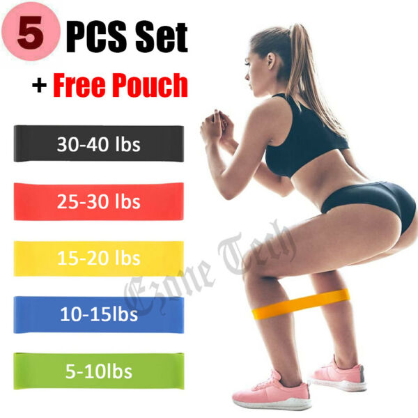 Resistance Bands Loop Set Strength Fitness Leg Exercise Yoga Workout Pull Up $8.55
