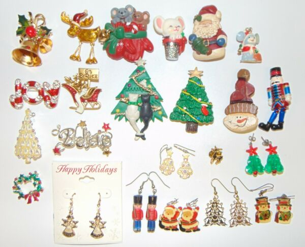23 Piece Christmas Jewelry Pins Brooch Pendant Earrings Tree Bell Mouse Soldier