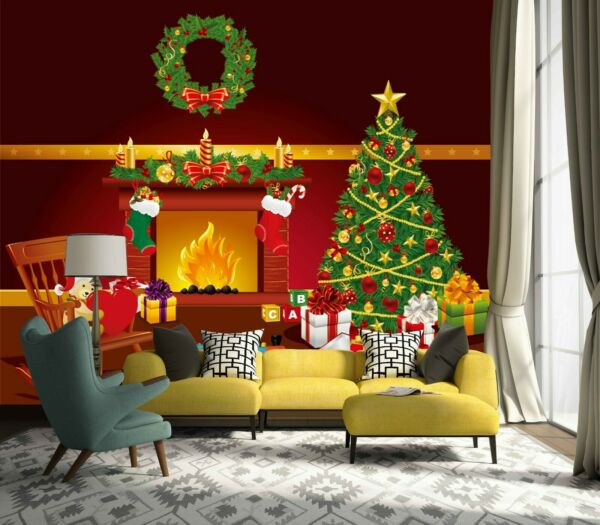 3D Fireplace Tree G712 Christmas Wallpaper Mural Self-adhesive Removable Amy