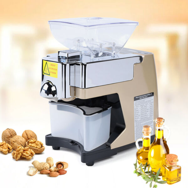New Automatic Small Oil Press Machine Stainless Steel Cold Hot Press 450W 110V