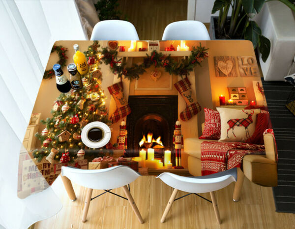 3D Fireplace Tree G669 Christmas Tablecloth Table Cover Cloth Birthday Party Amy