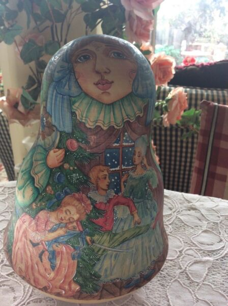Russian Art Roly Poly With Bell Inside Matryoshkas Tilting Doll Artist Signed 8
