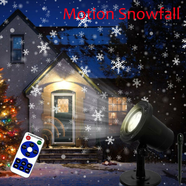 Outdoor Motion Christmas Laser Projector Light LED Moving Snowflake Snow Falling