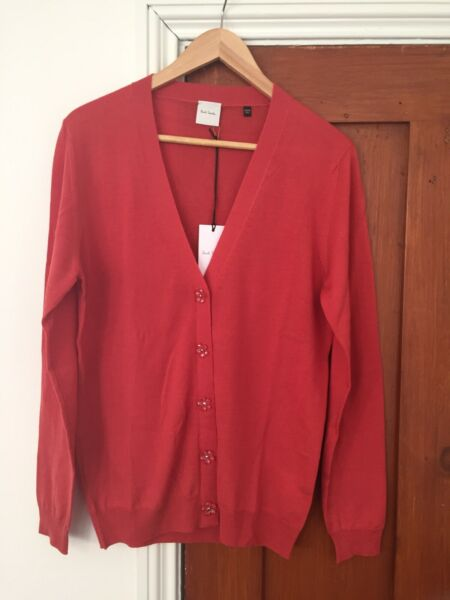 Paul Smith Womens Mainline  Cardigan 100% Wool Coral Made In Italy Small