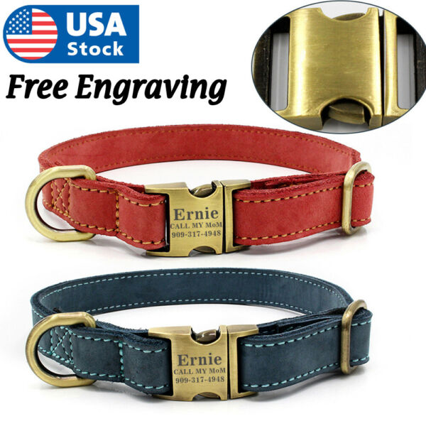 Soft Leather Personalized Dog Collar Engrave ID Name Custom for Small Large Dogs $12.98