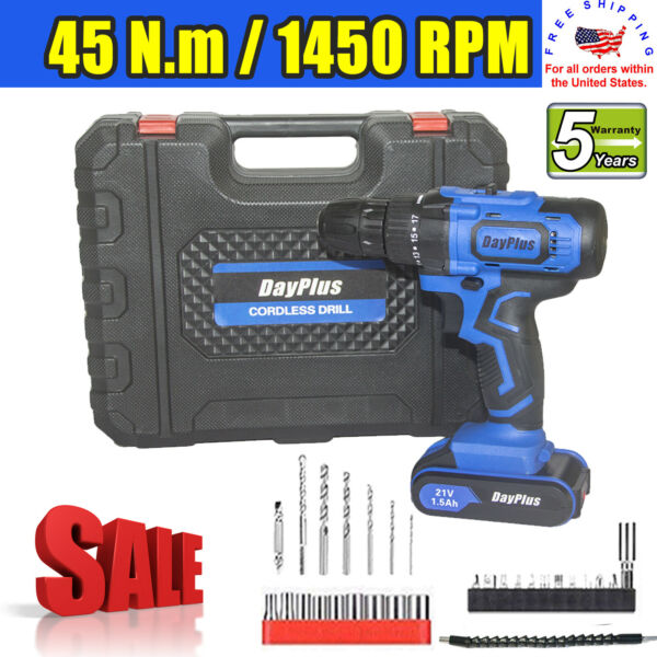 21V Power Cordless Drill Driver Electric Rechargeable With 2x Li-Ion Battery US