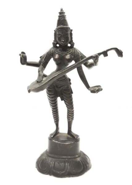 Hindu Goddess Sarasvati Old Brass Idol Statue Standing Home Decor Vintage Art