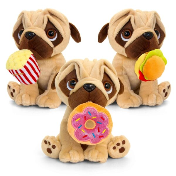 Keel Toys Pugsley Pug Dog Fav Food To Go Plush Animal Toy 20cm **FREE DELIVERY**