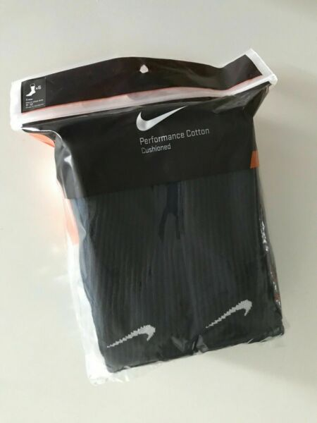 Nike Performance Cotton Crew Socks 3 OR 6 Pairs Mens Size 8-12 Women 10-13