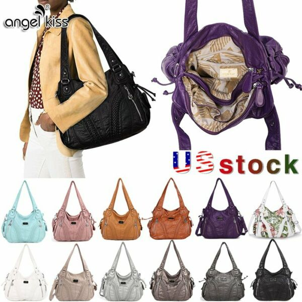 Angelkiss Women Brand Purses Satchel Handbags Shoulder Tote Bag Washed Leather