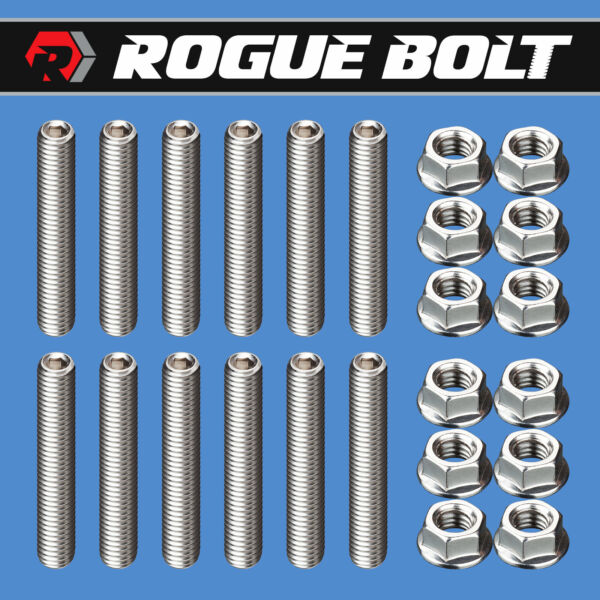 SBC EXHAUST MANIFOLD STUD KIT BOLTS quot;LOG STYLEquot; STAINLESS SMALL BLOCK CHEVY 350