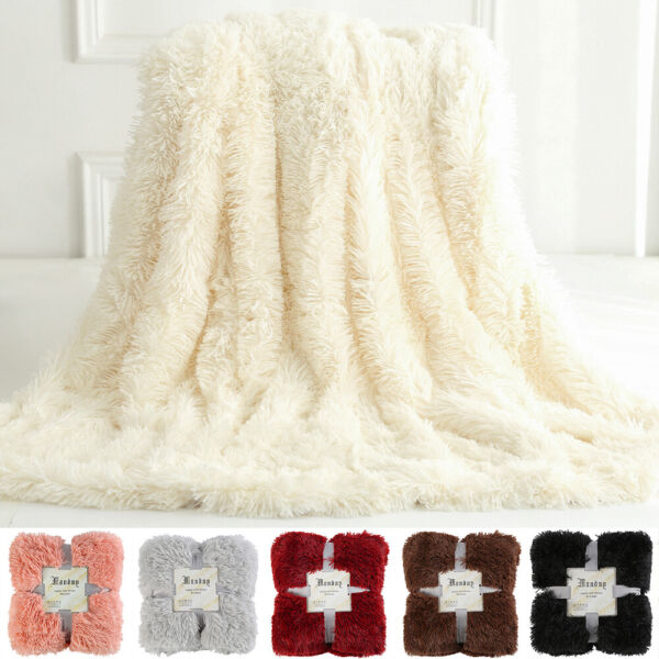Plush Faux Fur Throw Blanket Reversible Fluffy Fleece Shaggy Cover Soft Warm