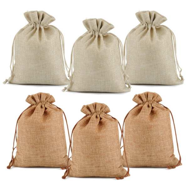 Burlap Gift Bags Wedding Hessian Jute Bags Linen Jewelry Pouches Party Favors