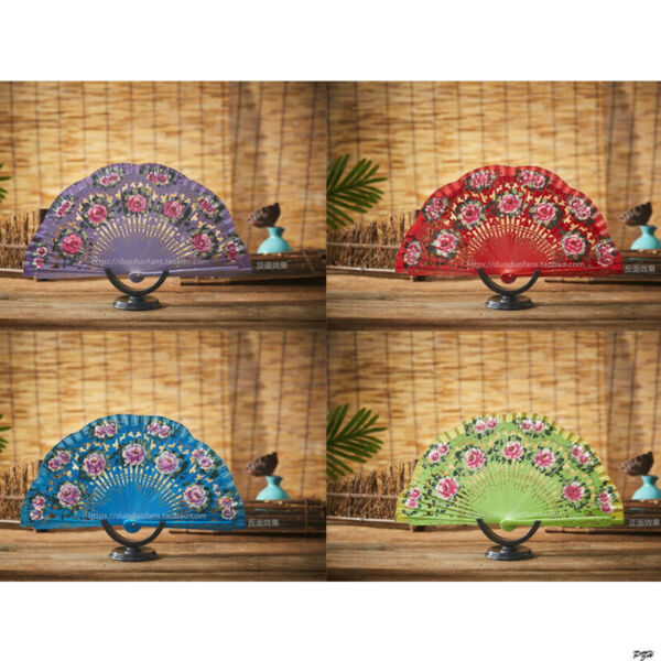 Woman Spanish Style Wood Fan Flower Fan Folding Hand Held Woman Dancing Fan $18.04