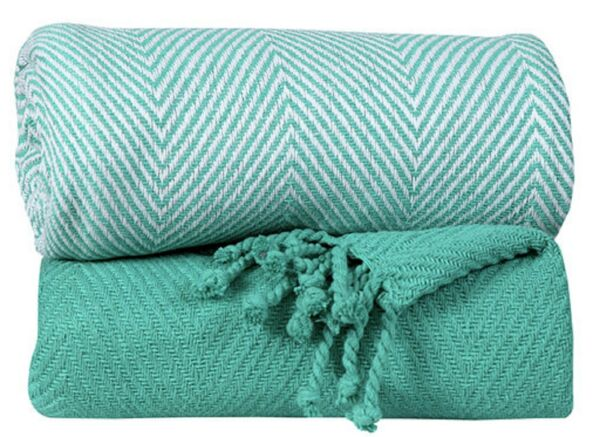 Handwoven 100% Cotton Chevron Couch Sofa Throws 50x60 Inch Set of 2 Turquoise