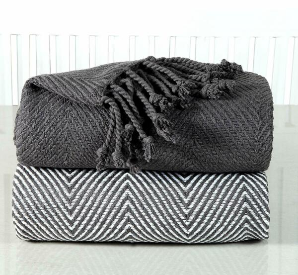Handwoven 100% Cotton Chevron Couch Sofa Throws 50x60 Inch Set of 2 Platinum