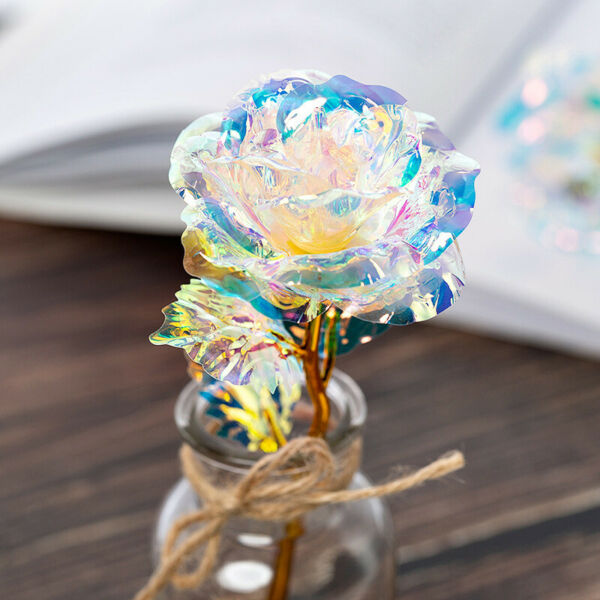 24K Gold Foil Rose Flower LED Luminous Galaxy Mother's Day Valentine's Day Gift