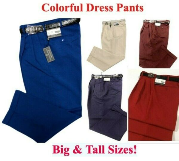 Big & Tall Mens Dress Pants - Pleated Slacks With Belt - Sizes 32 to 52