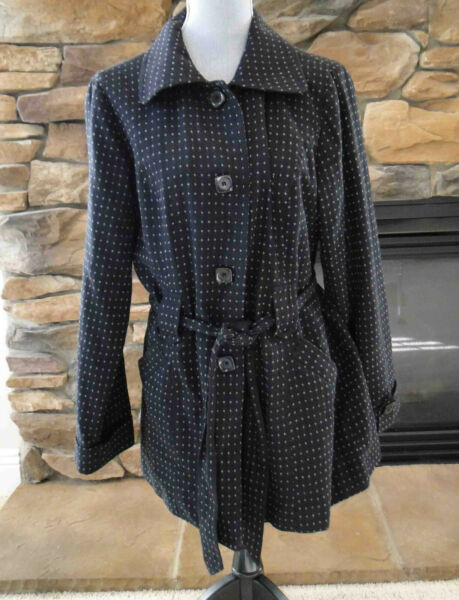 Willi Smith Black Lined Trench Coat Womens XL Collared 4 Button with Belt Pocket
