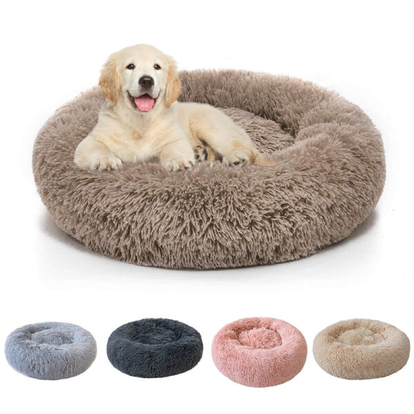 Donut Plush Pet Dog Cat Bed Fluffy Soft Warm Calming Bed Sleeping Kennel Nest $16.98