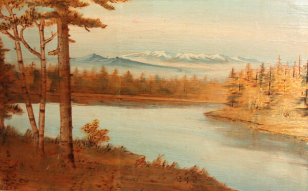 VINTAGE OILPYROGRAPHY PAINTING RIVER LANDSCAPE