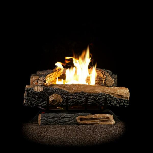 Emberglow Oakwood 24in.Vent-Free Natural Gas Fireplace Logs Thermostatic Control
