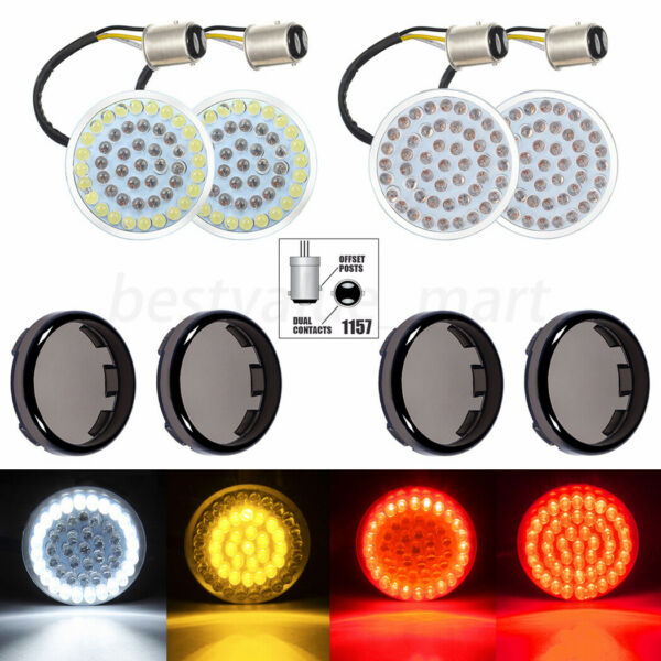2 Pair 1157 LED Bullet Turn Signal tail Light Inserts Smoke Lens Fit for Harley