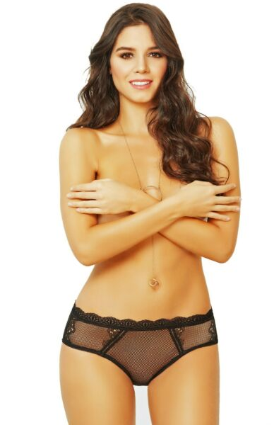 Lace And Net Sexy Panties With Open Back 20899 BLK