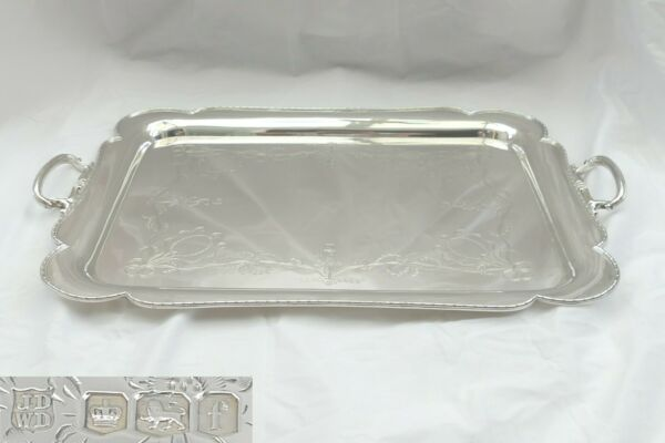 RARE LARGE GEORGE V HM STERLING SILVER 2 HANDLED TRAY 1923