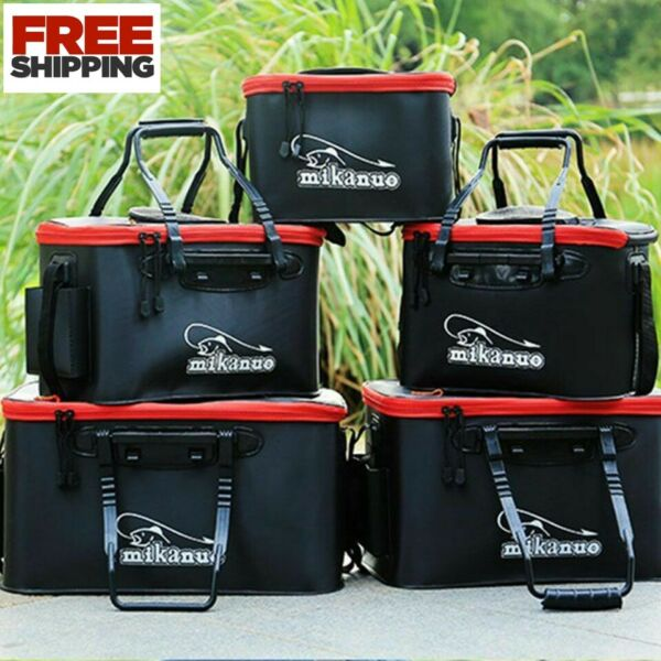 Fishing Bag Collapsible Fishing Bucket Live Fish Box Camping Water Container Pan $16.99