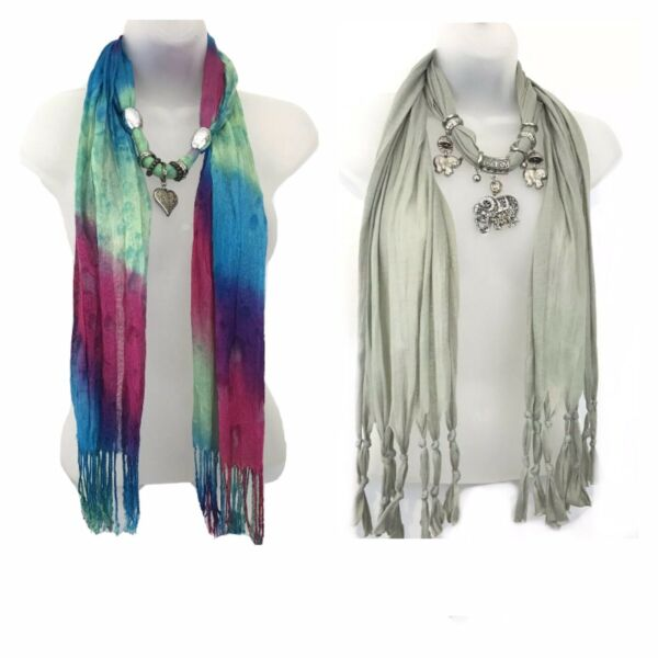 """Lot Of 2 Scarfs Elephant and Hearth Charm Pendant Jewelry Necklace Scarf 65"""""""