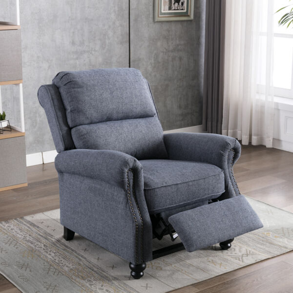 Push Back Recliner Chair Reclining Sofa With Roll Arm Thickness Backrest Cushion