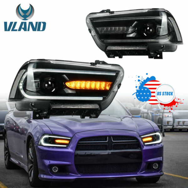 LED Headlights For Dodge Charger 2011-2014 Projector Lamps Assembly Plug