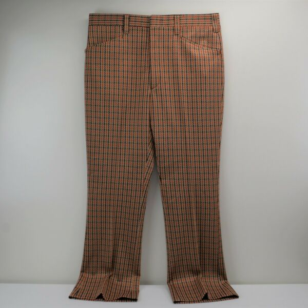 Vintage Mens Pants Double Knit Haggar Rust Brn Hounds-tooth Plaid 32 x 28 Flared