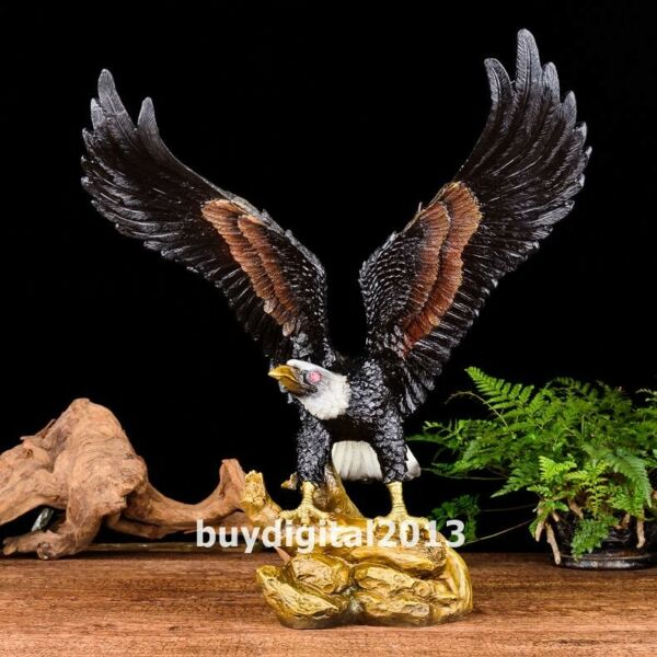 Chinese art deco pure Bronze Handpainted hawk eagle falcon shikra bird sculpture