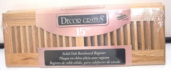 NIP SOLID NATURAL OAK DECOR BASEBOARD REGISTER GRATE COVER WL15BB-N  15-INCH