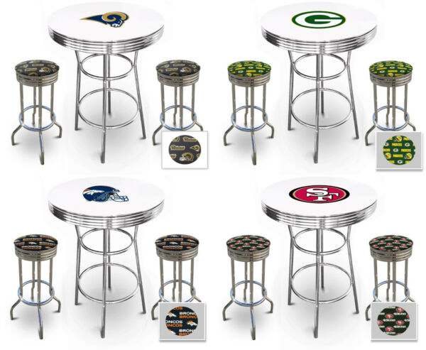NFL Themed White Bar Table Set with Glass Option Game Room Indoor Covered Patio