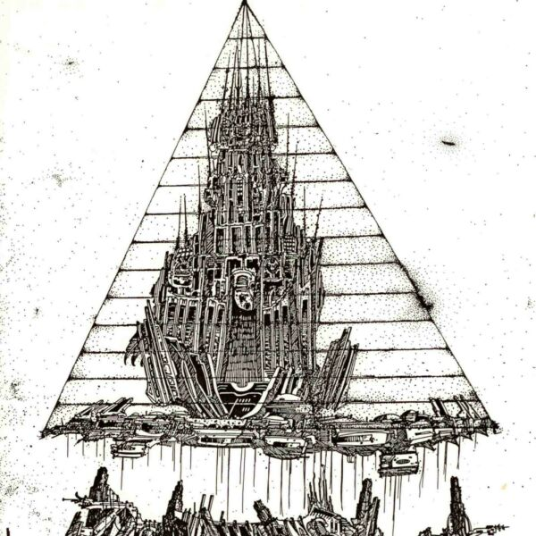Christopher Beau Relocating City With Flying Beings 1986 Original Pen