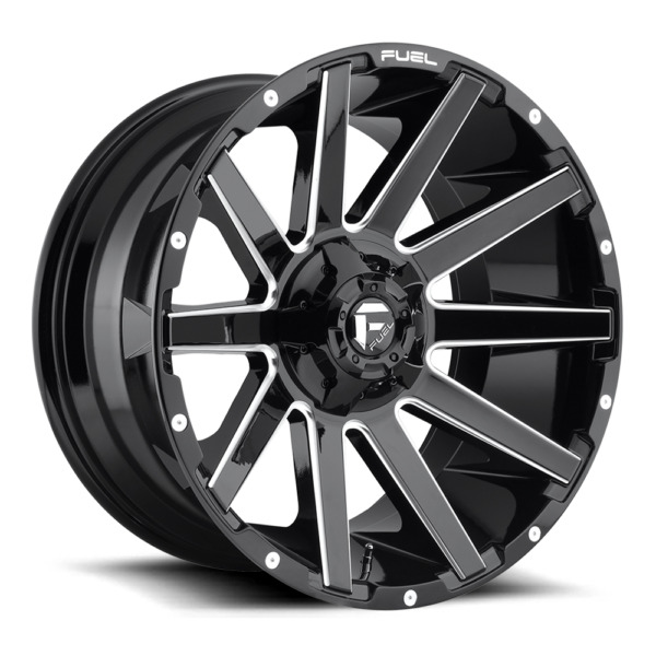 (4) 24x12 Fuel Gloss Black & Milled Contra Wheel 6X135 6X139.7 For Ford Jeep