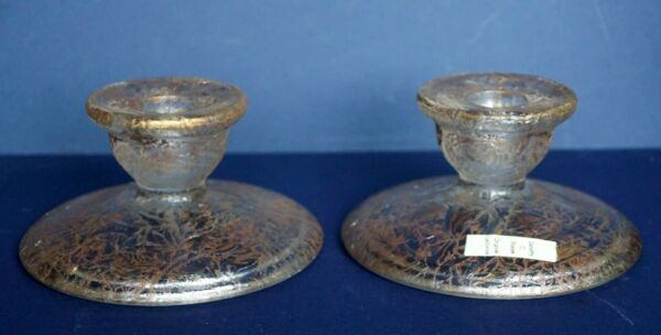 PAIR ~Vintage Art Glass ~ Dorothy Thorpe ~Candle Holders~Orig Label